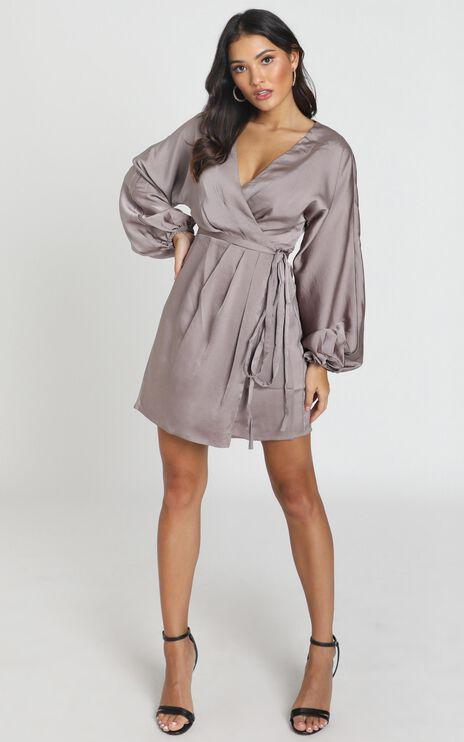 Kassandra Long Sleeve Mini Dress in taupe satin