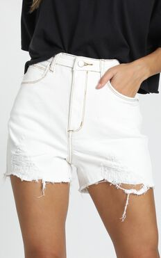 Meant For More Shorts In White Denim
