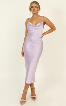 Before The Storm Dress In Lilac Satin