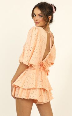 I Want It All Playsuit In Peach Embroidery