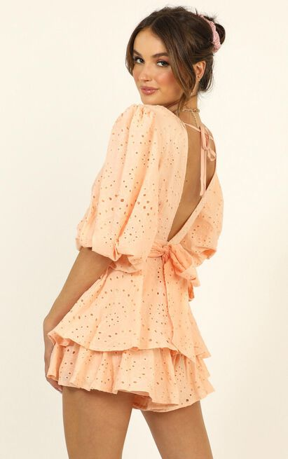 I Want It All Playsuit in peach embroidery - 14 (XL), Pink, hi-res image number null