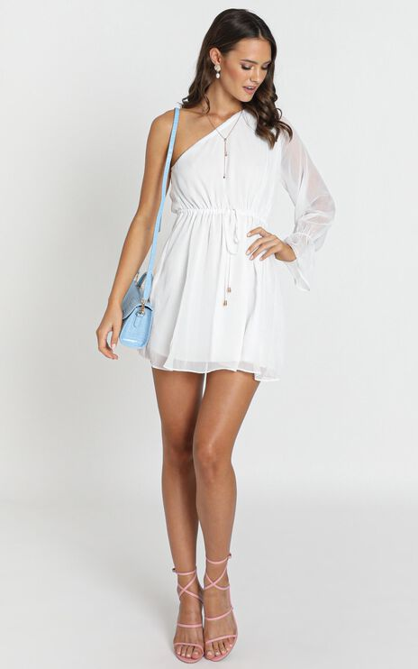 Andie One Shoulder Mini Dress In White