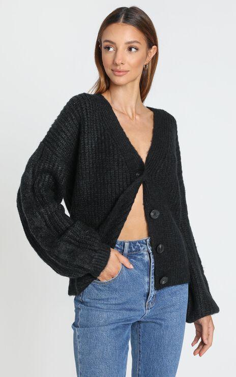 Ellie Hand Knit Cardigan in Black