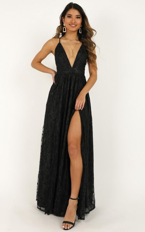 See Some Places Dress in Black Lace