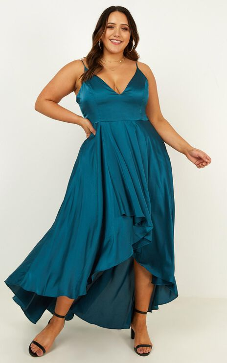Light The Way Dress In Teal Satin