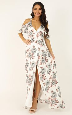 Something To Tell You Dress In White Floral