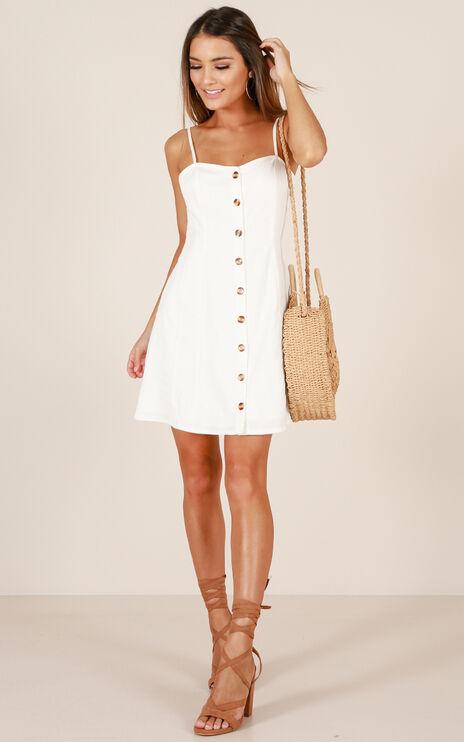 City Girl Dress In Cream Linen Look