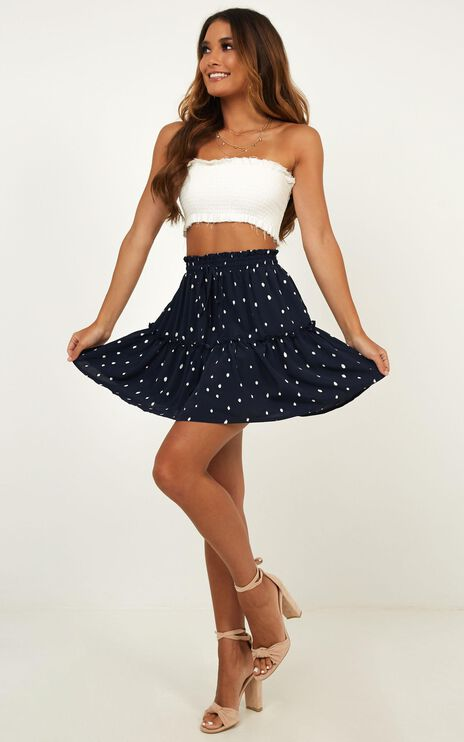 Shes Perfect Skirt In Navy Spot