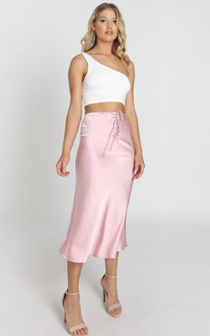 Winona Skirt In Dusty Rose Satin
