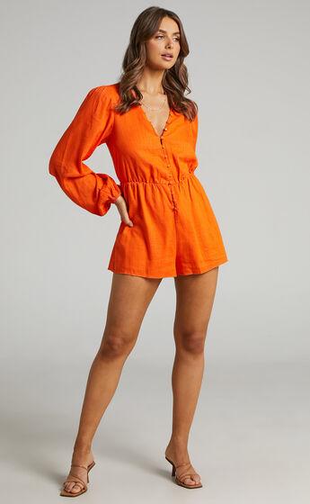 Shari Blouson Linen Blend Playsuit in Orange