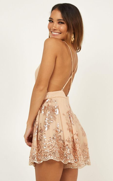 Boys Lining Up Playsuit In Rose Gold Sequin