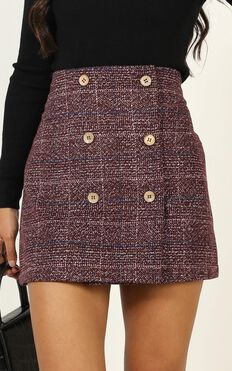 Thoughts Of You Skirt In Wine Check
