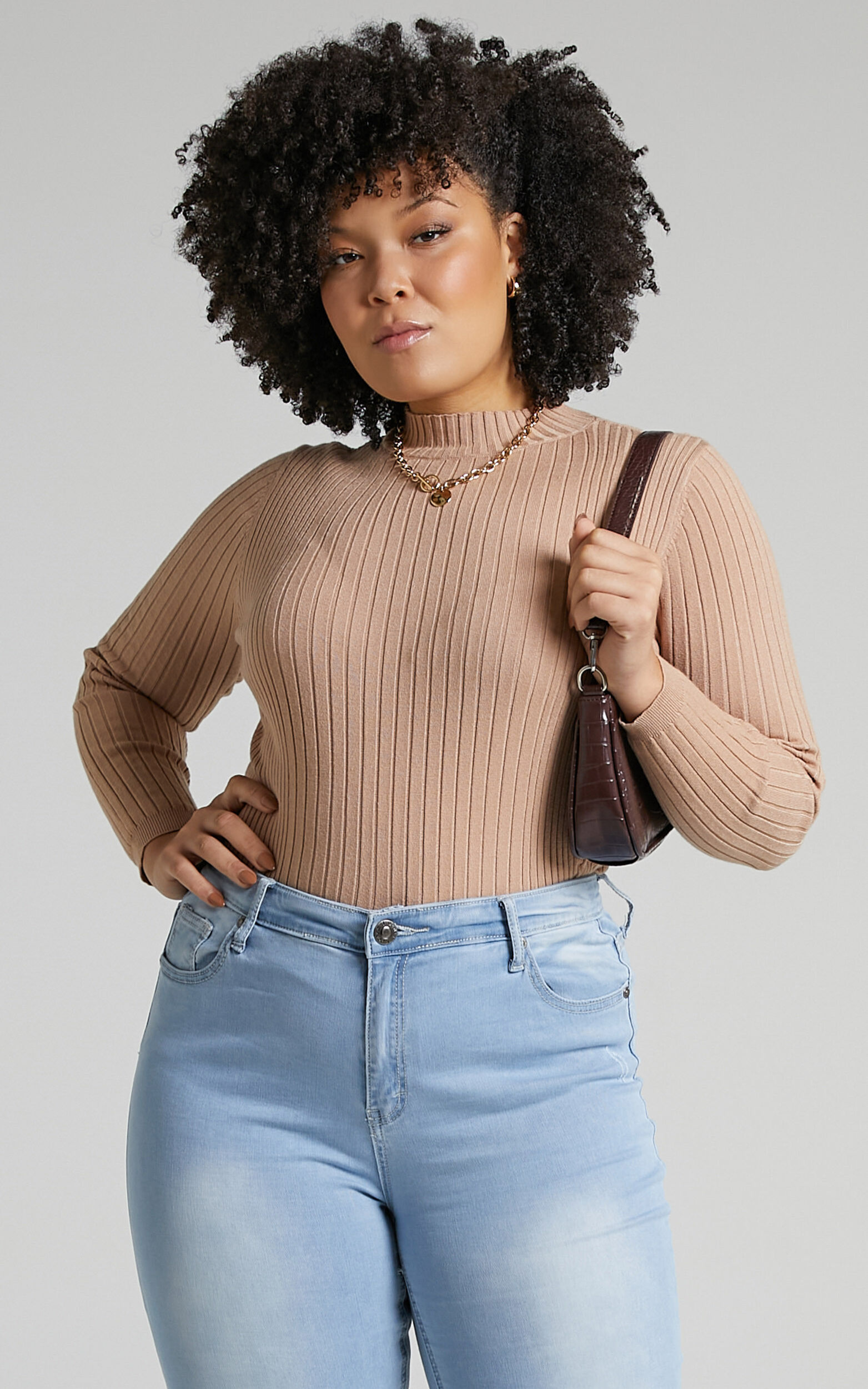Downtown Dreams Long Sleeve Knit Top in Light Mocha - 06, BRN1, super-hi-res image number null