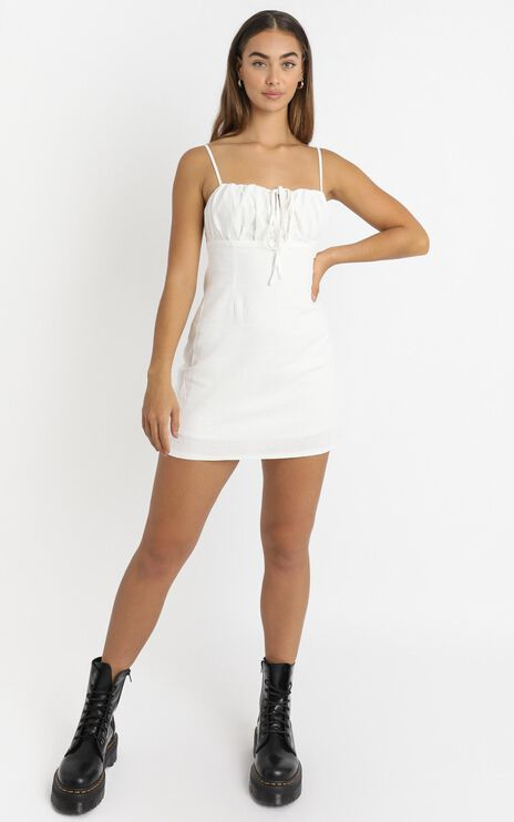 Break Free With Me Dress In White Linen Look