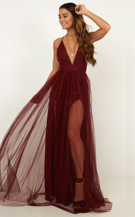 Celebrate Tonight Maxi Dress In Wine