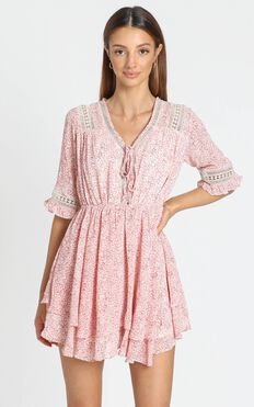 Abia Dress in Pink Print