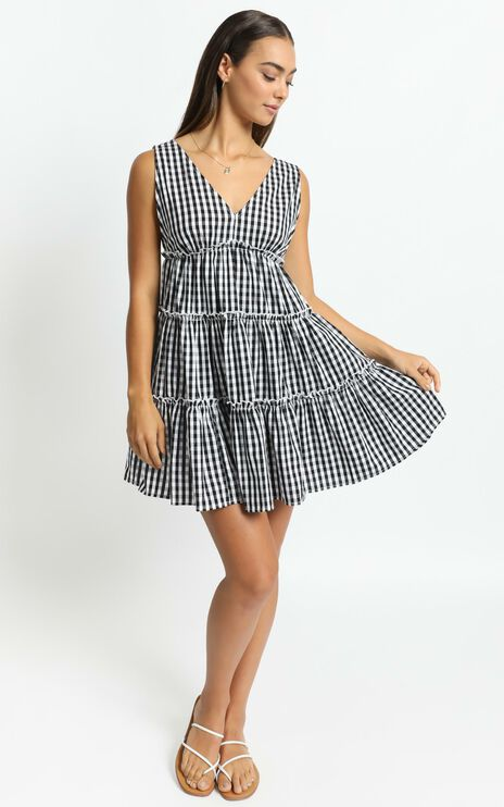 Millie Dress in Black Gingham Check