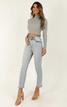 Downtown Dreams Knit Top In Grey