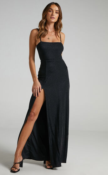 Rheannon Split Mesh Maxi Dress in Black Lurex