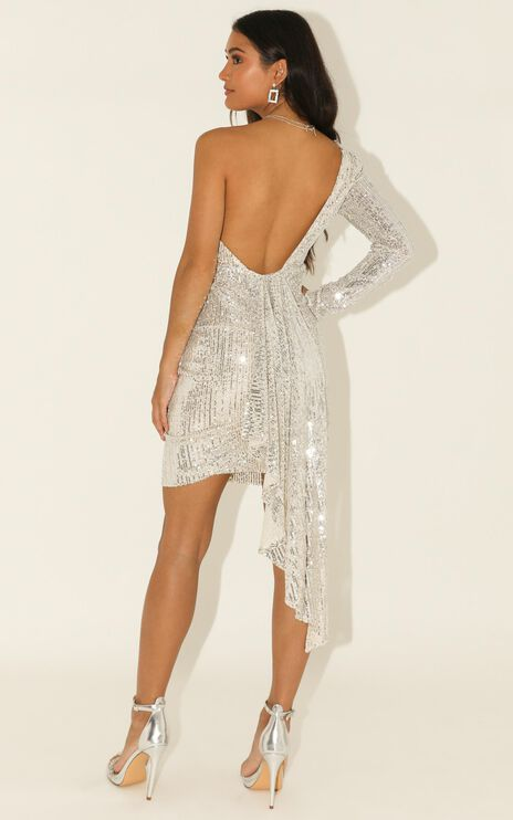 Shiny Thing Dress In Silver Sequin