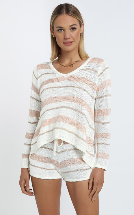 Callahan Knit Two Piece Set in Beige Stripe