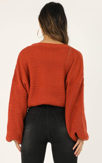 Too Much Chatting Knit Jumper in rust - 14 (XL), Rust, hi-res image number null