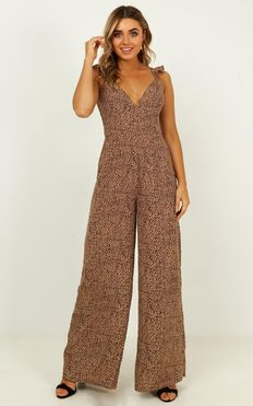 Special Mention Jumpsuit In Beige Print
