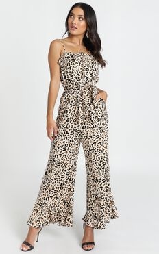 Roxanne Jumpsuit In Leopard Print