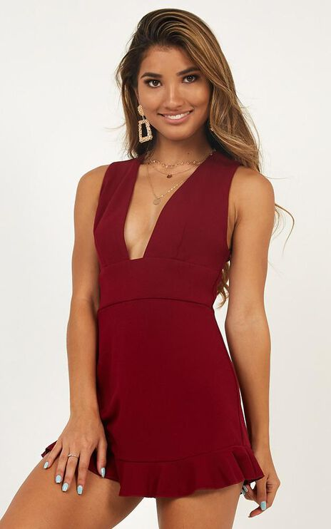 Take Me Higher Playsuit In Wine