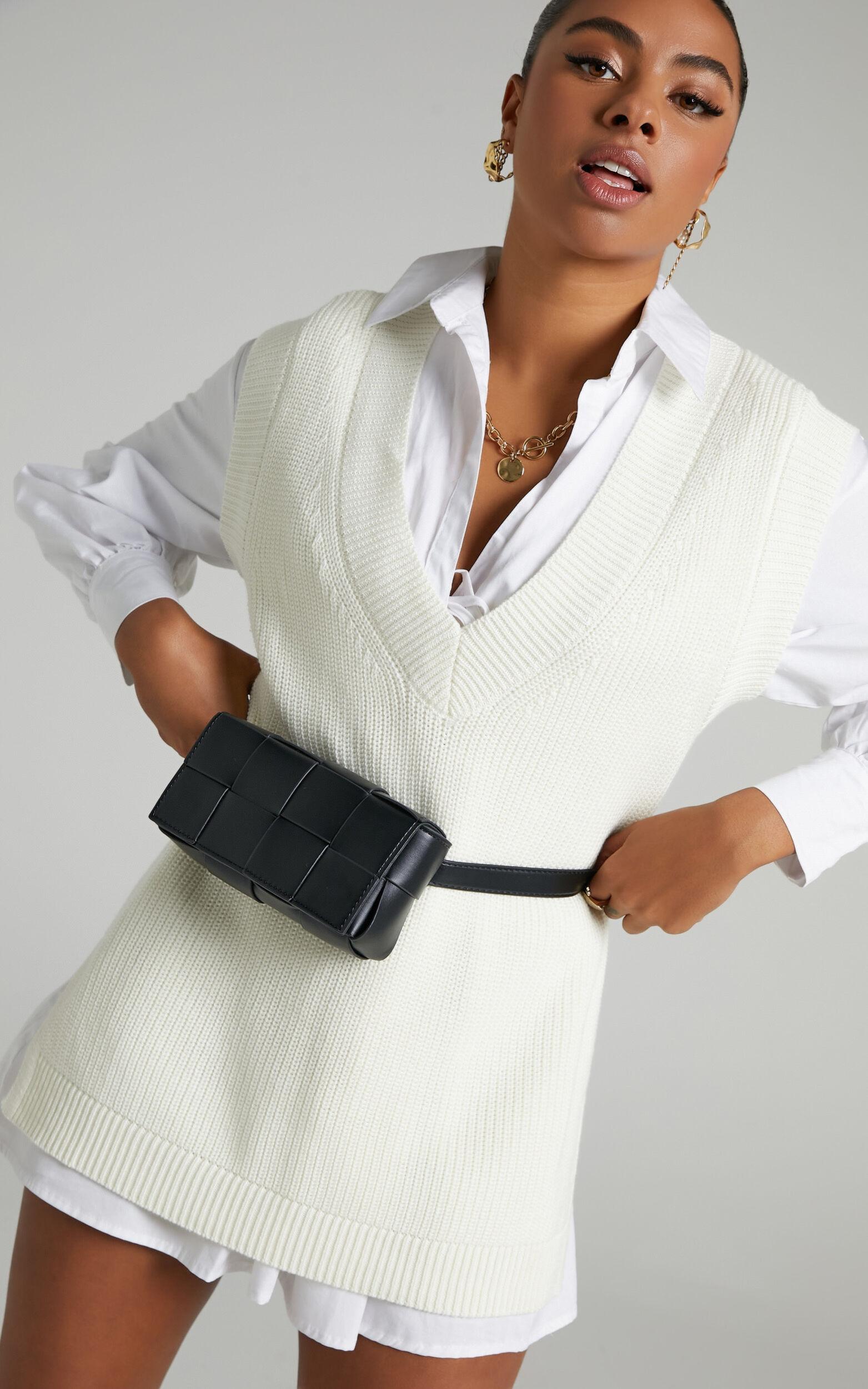 Saira Oversized Knit Vest in Cream - 06, CRE1, super-hi-res image number null