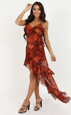 Set Your Agenda Dress In Red Print