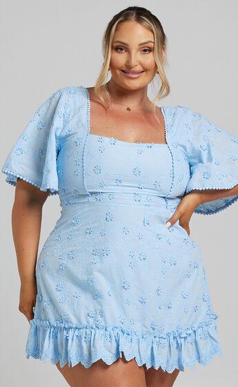 Fancy A Spritz Square Neck Mini Dress in Powder Blue
