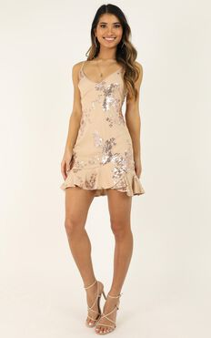 Carrying Your Love Dress In Rose Gold Sequin