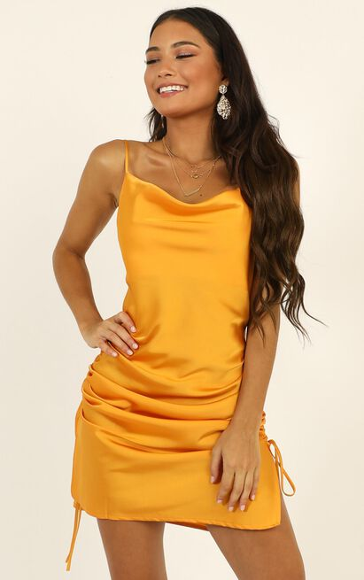 Consumed By You dress in mustard satin - 12 (L), Mustard, hi-res image number null