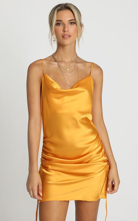 Consumed By You Dress In Mustard Satin