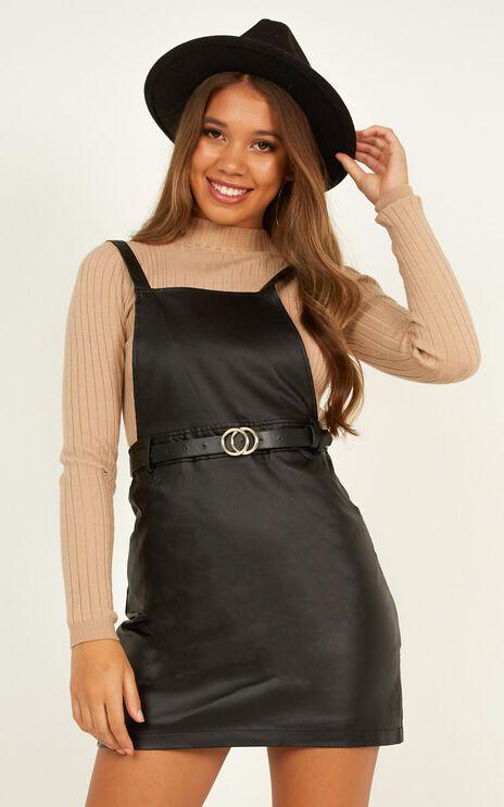 No Effort Pinafore Dress In Black Leatherette
