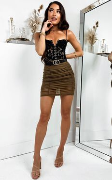 Touch By Touch Skirt In Khaki Mesh
