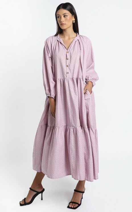 Lullaby Club - Avalon Maxi Dress in Mauve Polka Dots