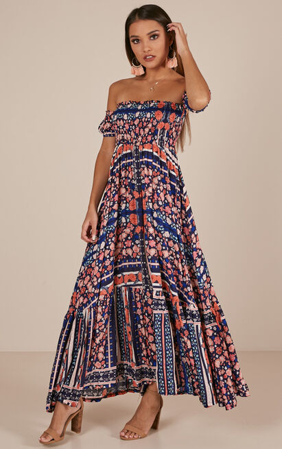 Catch My Breath maxi dress in navy floral - 12 (L), Navy, hi-res image number null