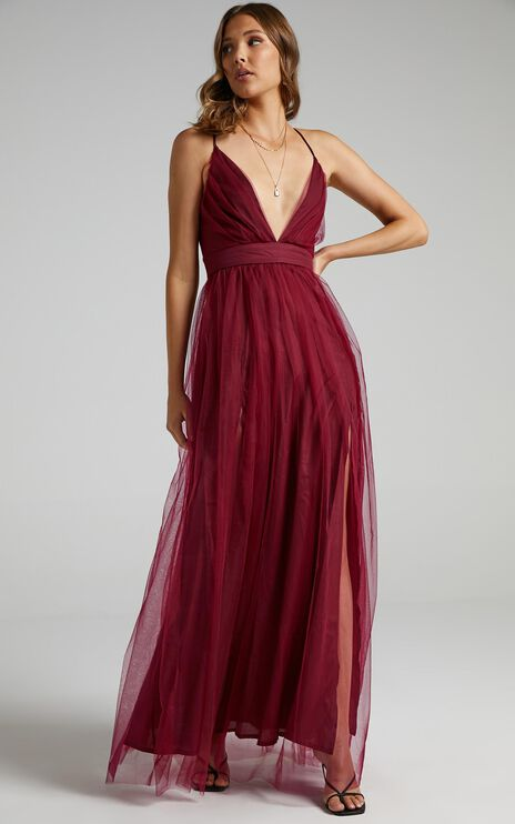 Tell Me Lies Dress In Wine Tulle