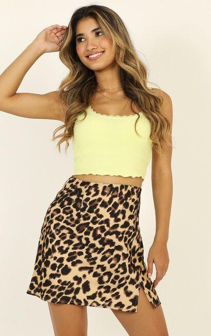 Mini Slip Skirt in leopard print - 14 (XL), Brown, hi-res image number null