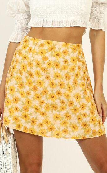 Only Offer Skirt in Sunflower Print