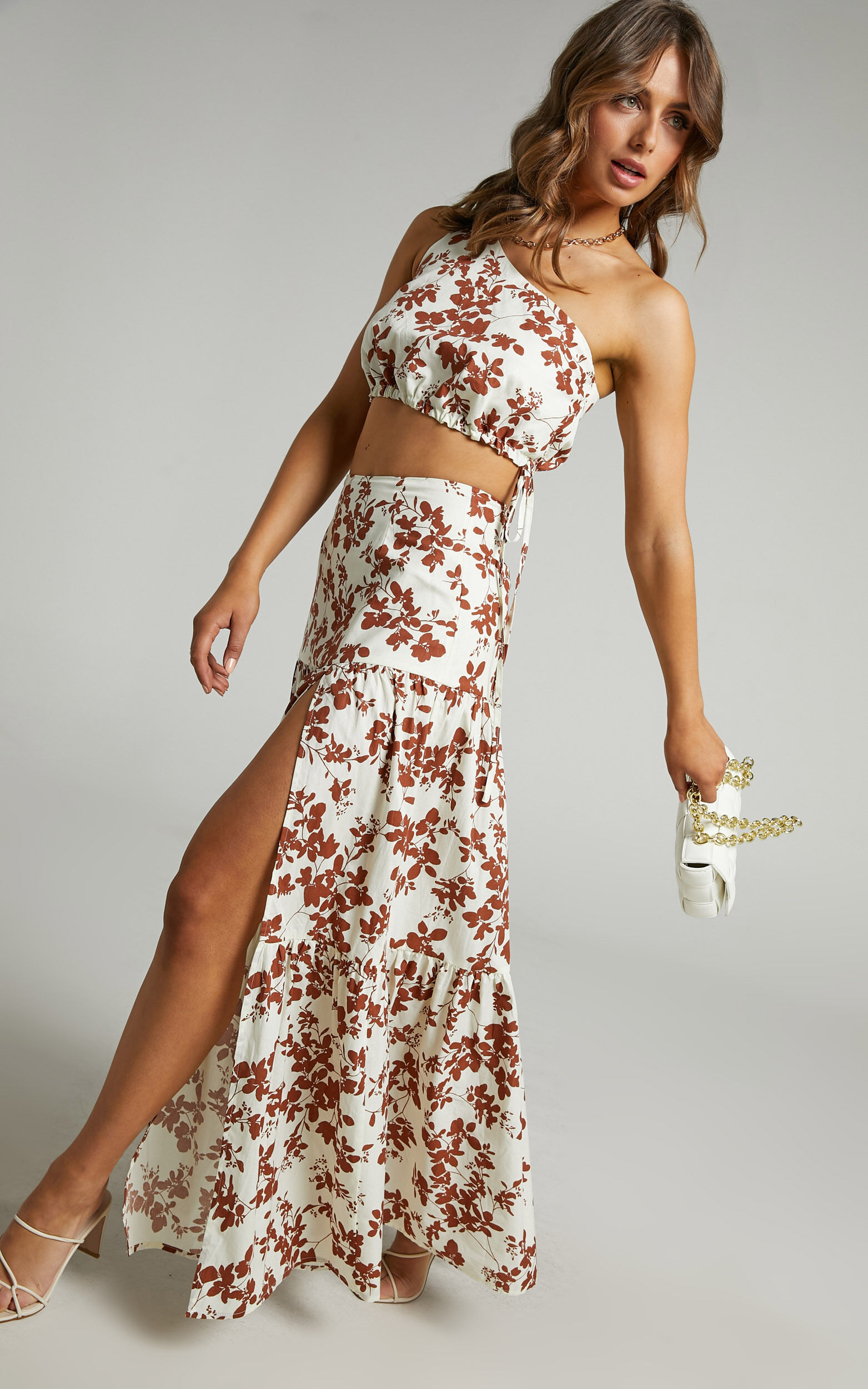 Meghan One Shoulder Two Piece Set with Maxi Skirt in Shadow Floral - 04, BRN2, super-hi-res image number null