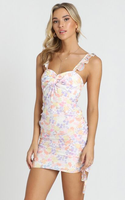We Got The Flowers Dress in multi floral stripe - 20 (XXXXL), Blush, hi-res image number null