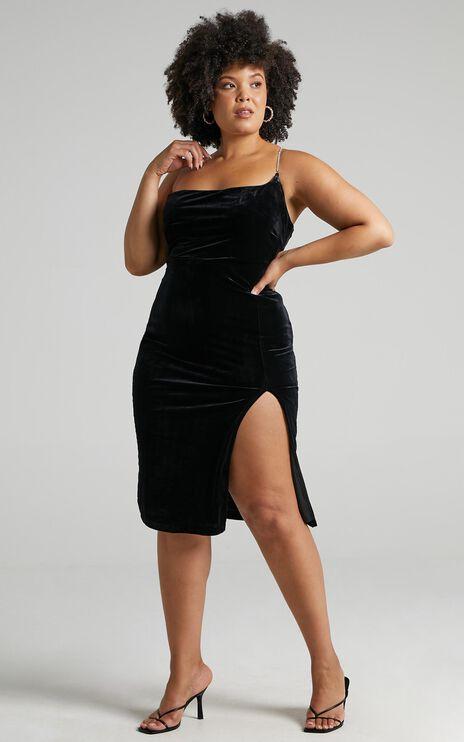 Deni Diamante Strap Midi Dress in Black Velvet