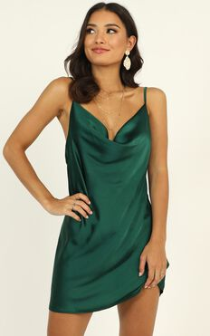 Wasted Moments Dress In Emerald Green Satin