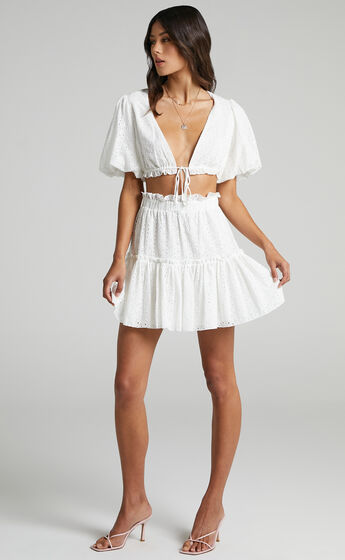 Mikayla Broderie Two Piece Set in White