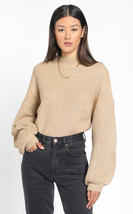 I Feel Love Oversized Knit Jumper in Mocha