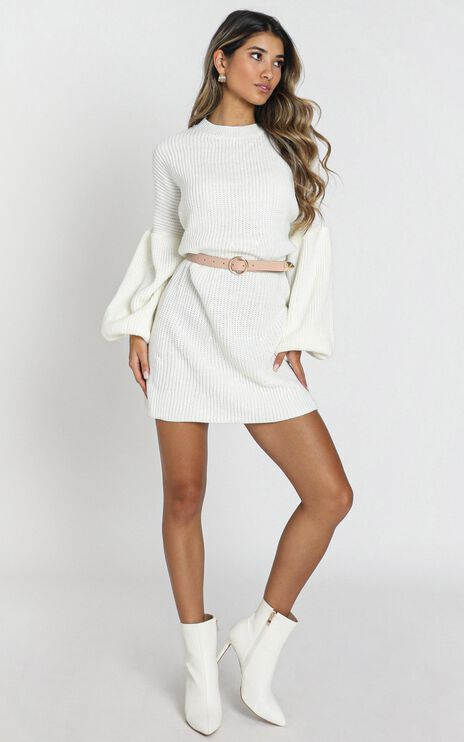 Fearless Now Knit Dress In Cream