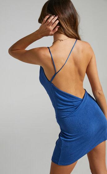Veronnica Asymmetric Neck Mini Dress in Cobalt